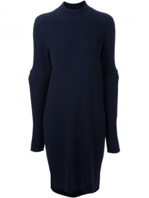 Ribbed knit dress Muveil. Цвет: синий