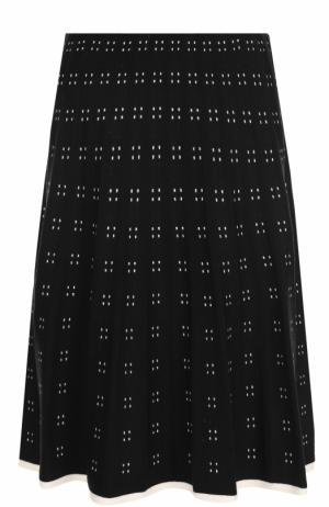Шерстяная юбка-миди с контрастным принтом Tory Burch. Цвет: черный