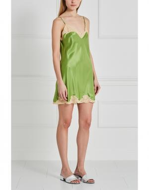 Шелковая сорочка Mathilide Sabbia Rosa. Цвет: зеленый