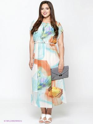 Платье Amelia Lux. Цвет: голубой, молочный