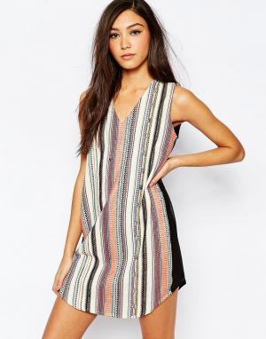 Deby Debo Цельнокройное платье с вышивкой Diego. Цвет: мульти