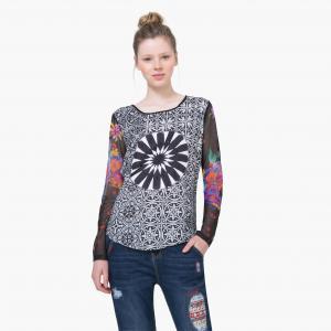 Блузка с рисунком и длинными рукавами DESIGUAL. Цвет: черный