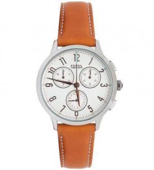 Часы с коричневым кожаным ремешком Fossil