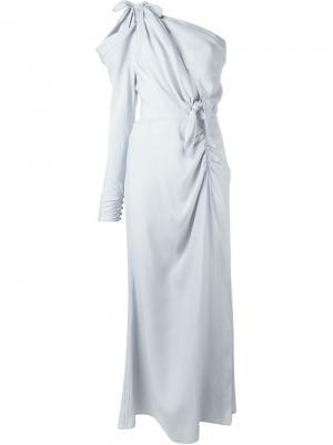 Вечернее платье на одно плечо Alessandra Rich. Цвет: синий
