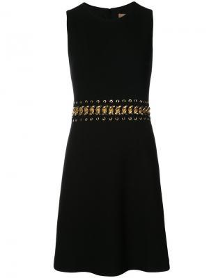 Расклешенное платье с цепочкой на талии Michael Kors. Цвет: чёрный