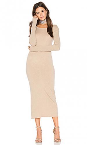 Платье из кашемира с круглым вырезом и длинным рукавом Enza Costa. Цвет: беж