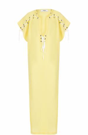 Льняная туника со шнуровкой и V-образным вырезом Marysia. Цвет: желтый