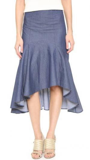Юбка Avril с асимметричным подолом Timo Weiland. Цвет: деним шамбре