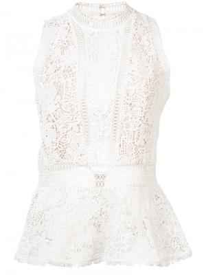Lace detail top Rebecca Taylor. Цвет: белый