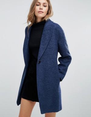 Closet London Свободное шерстяное пальто. Цвет: синий