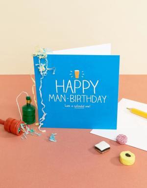 Happy Jackson Открытка на день рождения с принтом пива. Цвет: мульти