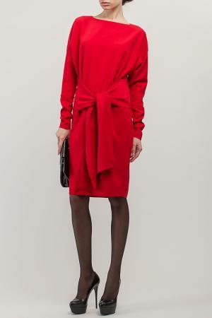 Платье свободного кроя с поясом-завязками BGL. Цвет: красный