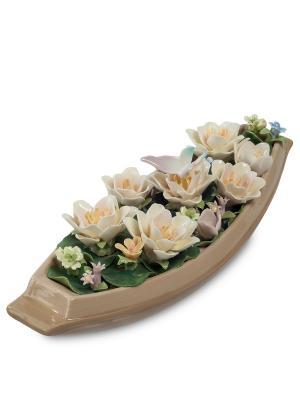 Статуэтка с цветами Pavone. Цвет: бежевый, зеленый, молочный