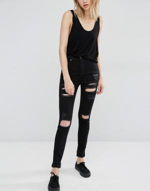 Dr Denim Рваные облегающие джинсы с завышенной талией Zoe. Цвет: черный