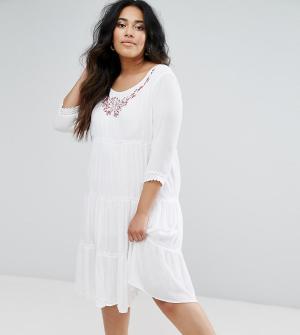 Diya Платье с длинными рукавами и многослойной юбкой. Цвет: белый