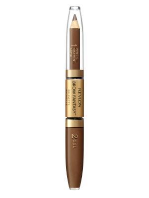 Карандаш и гель для бровей Colorstay Brow Fantasy Pencil & Gel, Brunette 105 Revlon. Цвет: коричневый