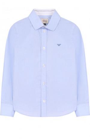 Хлопковая рубашка прямого кроя Armani Junior. Цвет: голубой