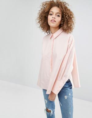 ASOS Хлопковая оversize-рубашка с разрезами по бокам. Цвет: розовый
