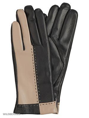 Перчатки женские с эффектом Touch Screen Marco Bonne`. Цвет: черный, темно-бежевый