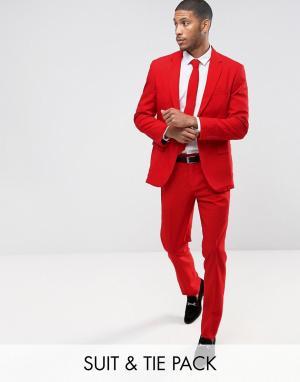 Oppo Suits Красный облегающий костюм и галстук OppoSuits PROM. Цвет: красный