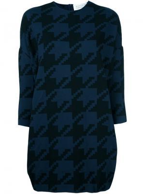 Платье в ломаную клетку Gianluca Capannolo. Цвет: синий