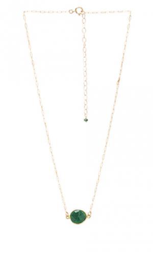 Цепочка natalie b с камнем на подвесе Jewelry. Цвет: зеленый