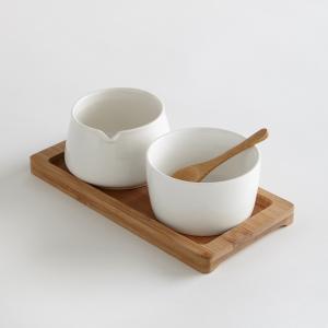 Молочник и сахарница из керамики La Redoute Interieurs. Цвет: белый