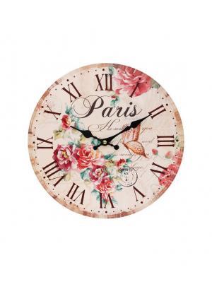 Часы настенные Аромат лета, диаметр 34 см (118-CL ) Белоснежка. Цвет: бледно-розовый, красный, кремовый