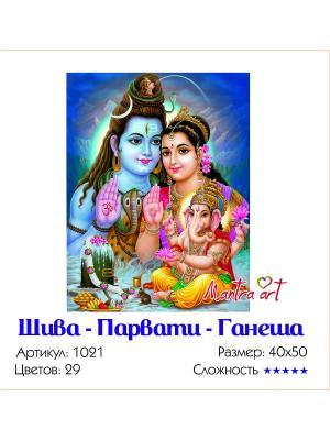 Живопись на холсте Шива-Парвати-Ганеша + диск в подарок MantraArt. Цвет: белый