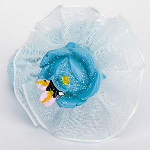Резинки Девочка пластик, текстиль арт. 14-105 Бусики-Колечки. Цвет: голубой