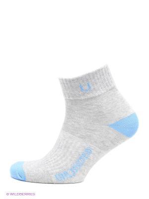 Носки спортивные 5 пар Unlimited. Цвет: серый меланж, голубой