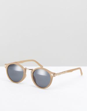 ASOS Круглые солнцезащитные очки в оливковой оправе с золотистой отделкой A. Цвет: зеленый
