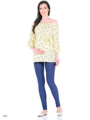 Блузка 40 недель. Цвет: темно-синий, светло-желтый
