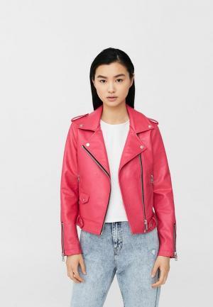 Куртка кожаная Mango. Цвет: розовый