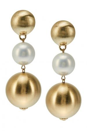 Серьги с золотистыми шарами RubyNovich. Цвет: multicolor