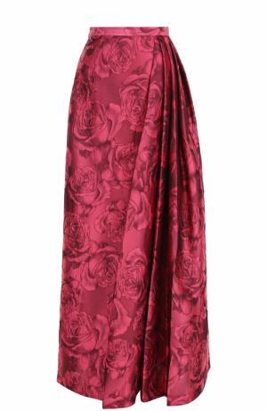 Юбка-макси с цветочной отделкой и складками St. John. Цвет: розовый