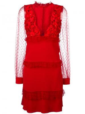 Платье с прозрачными вставками Piccione.Piccione. Цвет: красный