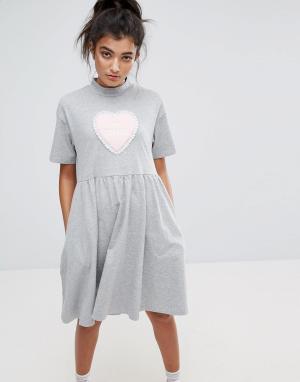 Lazy Oaf Платье-футболка с надписью No Thanks. Цвет: серый