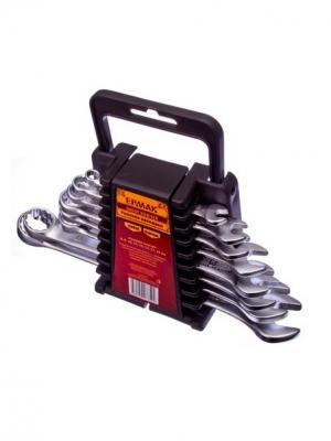 Набор ключей рожк-нак., 8пр. евро холдер, мат. CRV ребристая панель холодный штамп 8-19мм Ермак. Цвет: серебристый, черный