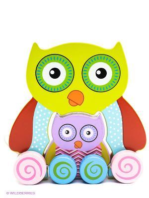 Каталка Сова с совенком MAPACHA. Цвет: желтый, голубой, сиреневый, красный
