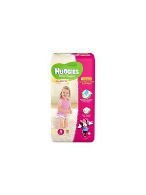 Подгузники Ultra Comfort Размер 5 12-22кг 15шт для девочек HUGGIES. Цвет: розовый