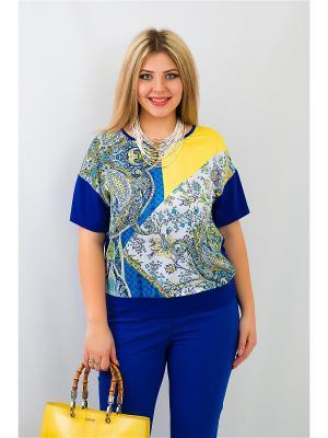 Блуза BALSAKO. Цвет: синий, желтый
