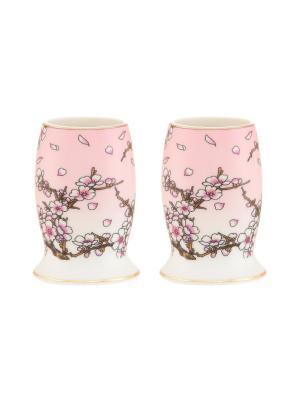 Набор из 2-х вазочек под зубочистки Сакура на розовом Elan Gallery. Цвет: розовый