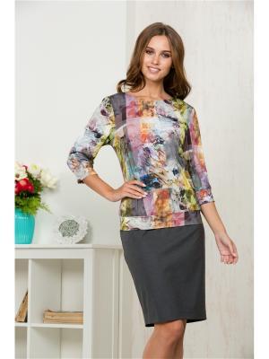 Блузка KEY FASHION. Цвет: светло-серый, желтый, коралловый