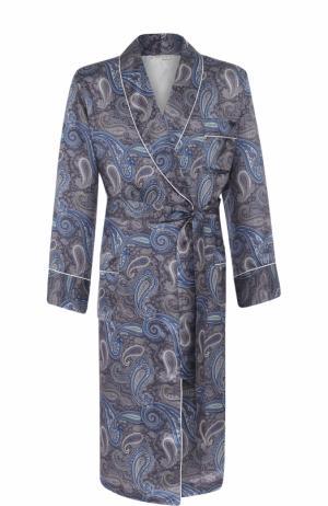 Шелковый халат с шалевым воротником Roberto Ricetti. Цвет: сиреневый