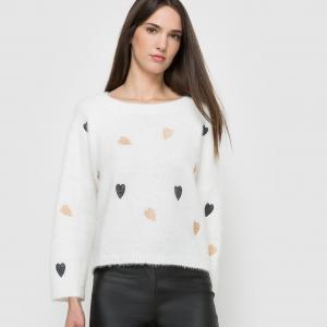 Пуловер с круглым вырезом и вышивкой, MOLLY BRACKEN. Цвет: белый