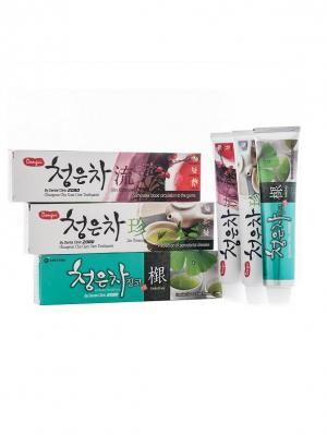 Набор Зубные пасты Dental Clinic 2080 Cheong-en-cha, Восточный чай 3 штуки. Цвет: зеленый, красный, серо-зеленый