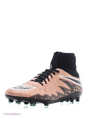 Бутсы HYPERVENOM PHATAL II DF FG Nike. Цвет: бледно-розовый, персиковый, кремовый