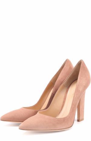 Замшевые туфли с зауженным мысом Gianvito Rossi. Цвет: пепельно-розовый