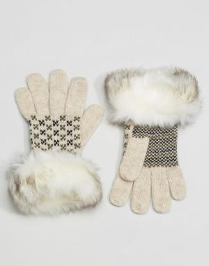 Alice Hannah Перчатки с меховой отделкой. Цвет: кремовый